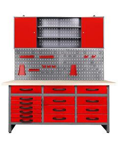 Ondis24 Werkstatt Set Konny 160 cm rot Werkbank Werkstattschrank Metall Lochwand