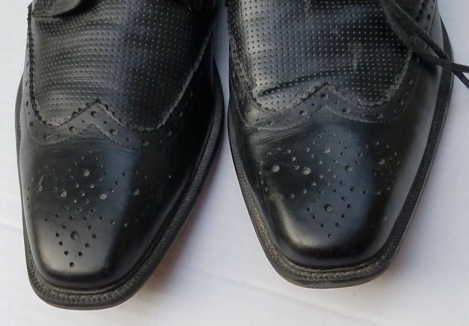 3b3fd9323a124 ... STEVE MADDEN Black Leather WingTip Dress Oxford Dress Shoes Shoes Shoes  P-Lander Mens 9 ...