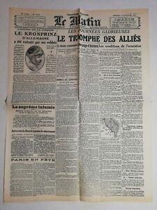 N989-La-Une-Du-Journal-Le-Matin-13-novembre-1918-le-triomphe-des-allies