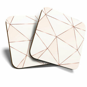 2 x Coasters - Pink Copper Metallic Effect Art Deco Home Gift #21392