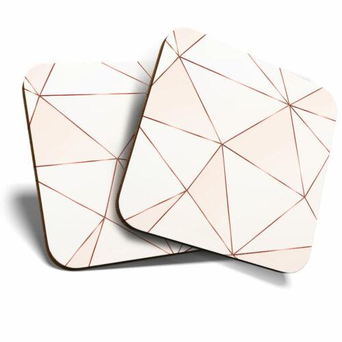Pink Copper Metallic Effect Art Deco Home Gift #21392 2 x Coasters