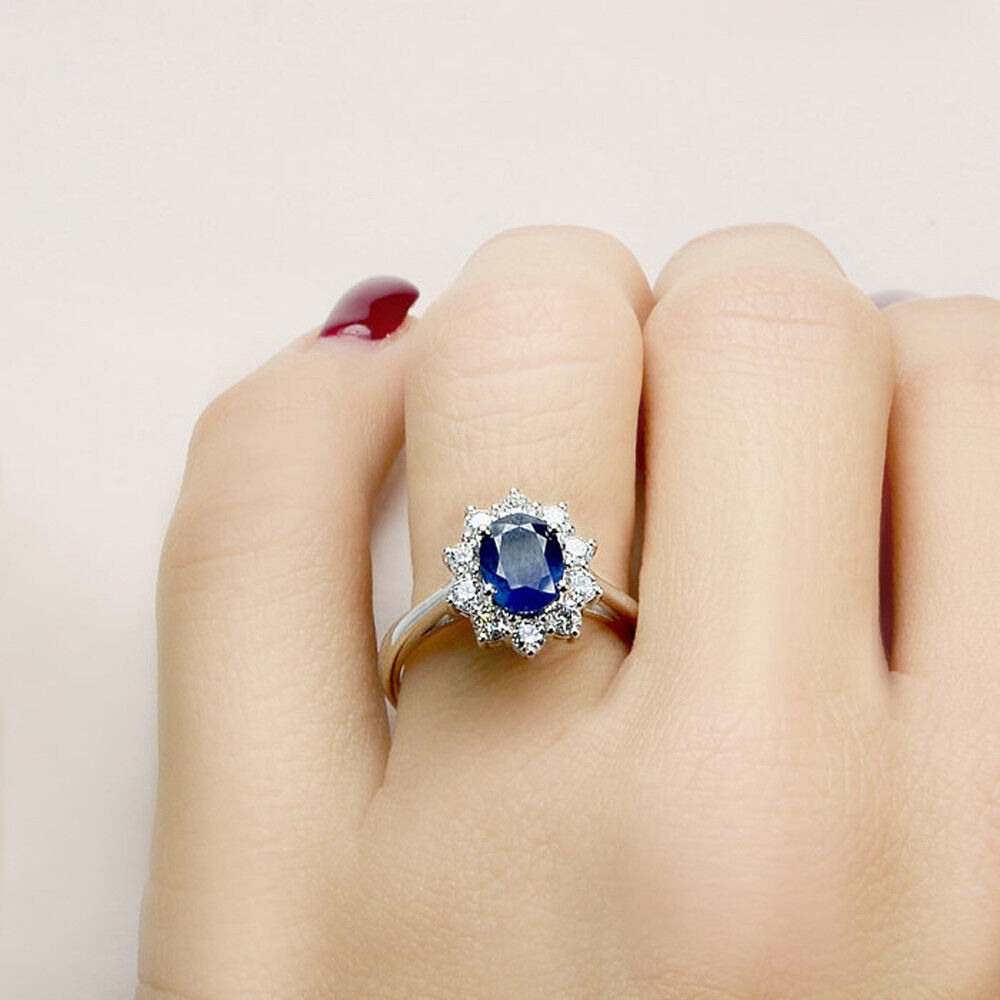 Certified  Real 14K White gold 3.4Ct Natural Diamond bluee Sapphire Gemstone Ring