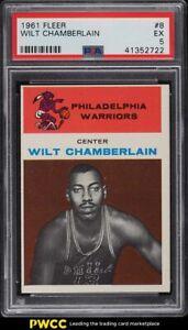 1961 Fleer Basketball Wilt Chamberlain ROOKIE RC #8 PSA 5 EX