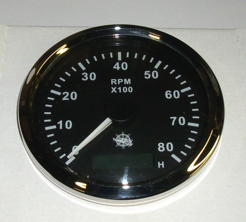 Drehzahlmesser 85 mm  Diesel/ Benzin Benzin Benzin 0-8000 RMP Schwarz Blende poliert 27.326.04 dba7e7