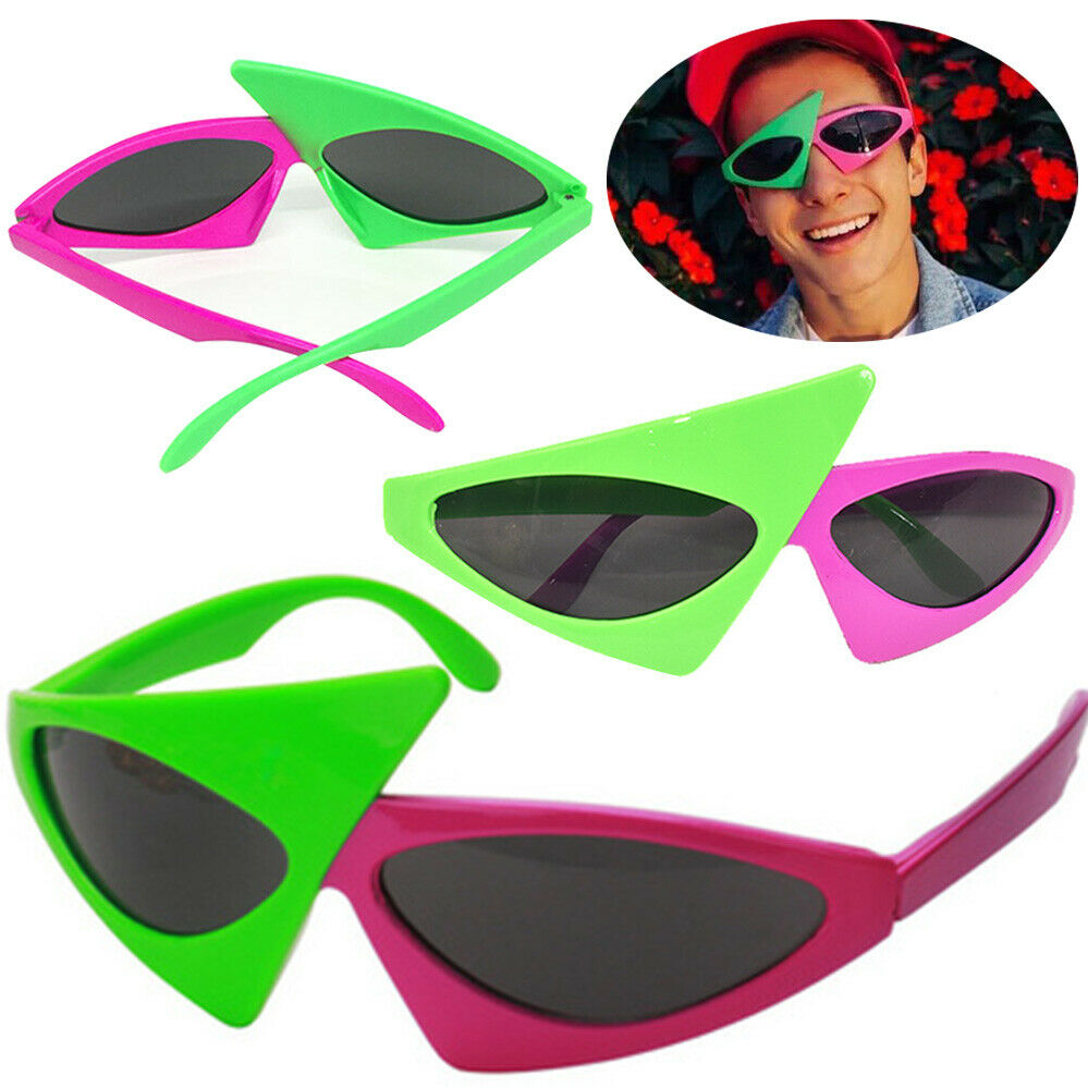 HipHop Pink Green Asymmetric Purdy Sunglass Triangular Style Contrast Color Roy