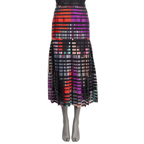 61464 auth FENDI multicolor silk blend STRIPED PLE