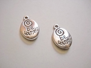 2 Quote Pendants Antiqued Silver Inspirational Word Charms Oval Be Yourself
