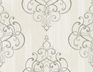 Wallpaper-Designer-Textured-Ink-Gray-Scroll-Damask-on-Light-Gray-Faux
