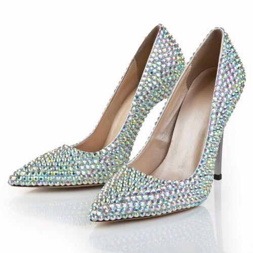 pointu Les chaussures mariage Stilettos bout strass de cristal femmes escarpins twqBwU