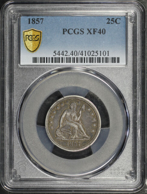 1857 Seated Liberty Quarter PCGS XF-40