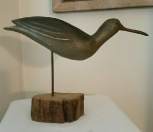 Vintage Folk Art Carved Wood Sandpiper Shore Bird Decoy Sculpture SIGNED