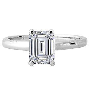 2 carat 8x6 mm emerald cut solitaire engagement 14k white