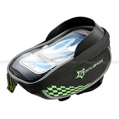 RockBros Cycling Bike Handlebar Bag Fit 5.5 Touchscreen Phone Holder Bag Green