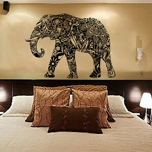 Wall decals elephant indian pattern decal vinyl sticker home bedroom decor mn313 ebay Elephant home decor items