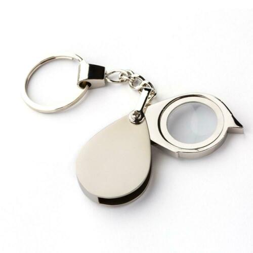 Portable 15X Folding Key Ring Magnifier Key Chain Magnifying Glass Loupe