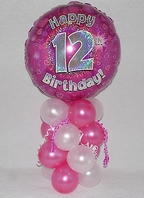 12th  BIRTHDAY -AGE 12 -GIRL PINK-FOIL BALLOON DISPLAY-TABLE CENTREPIECE-BANNER