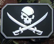 PIRATE SKULL 3D PVC FLAG ARMY BLACK OPS SWAT VELCRO® BRAND FASTENER PATCH