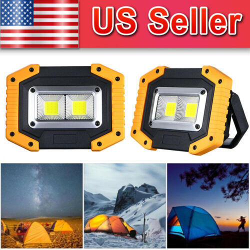 2-Pack LED COB Work Light Floodlight Rechargeable Portable 3