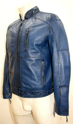 Style Fitted Jacket Soft Leather Napa Designer Classic Blue Biker Men's Dwight 4FxwqtX4