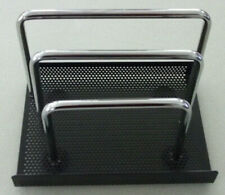 Black Perforated Amp Chrome 3 Tier Metal Work Mail Files Office Desk Top Organizer