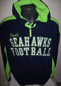 finest selection 2b75a e1a60 Details about SEATTLE SEAHAWKS Fuzzy Fleece Hooded Jacket Sewn Logos M L XL  2X Blue Lime Green