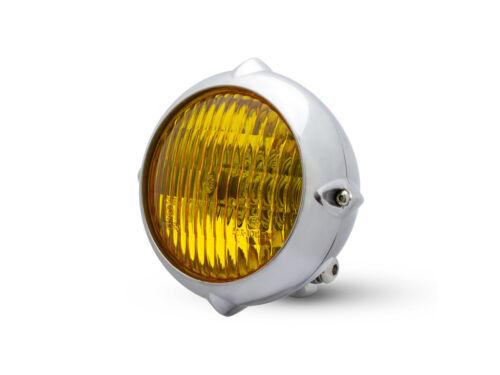 "5.5/"" Motorbike Headlight for Vintage Custom Project HOG Polished /& Yellow Lens"