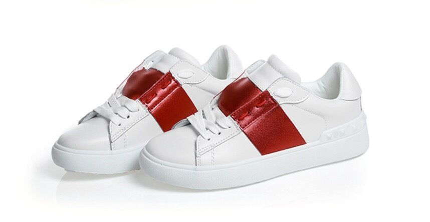 Contrast Colour Stripe Leather Sneaker with Studs Shoes Men or Women