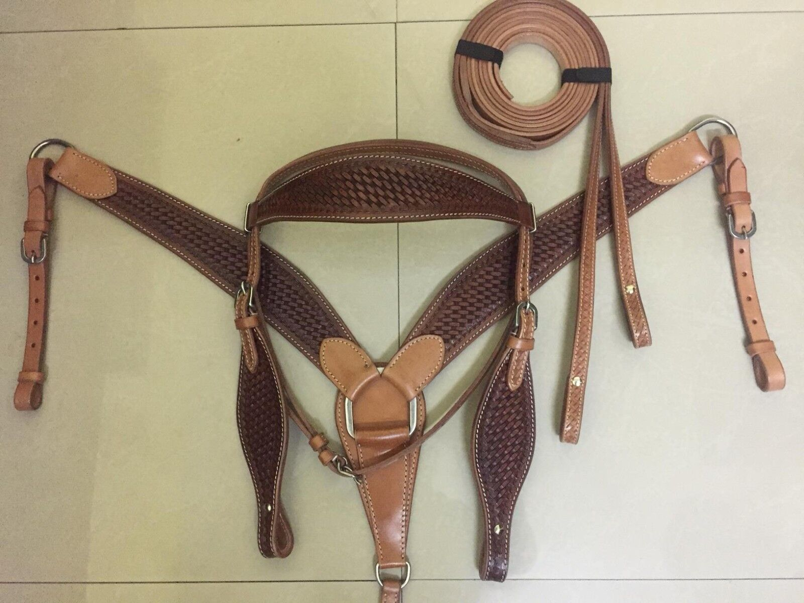 Western Natural Leather Set of HeadstallBreast Collar & Leather Reins