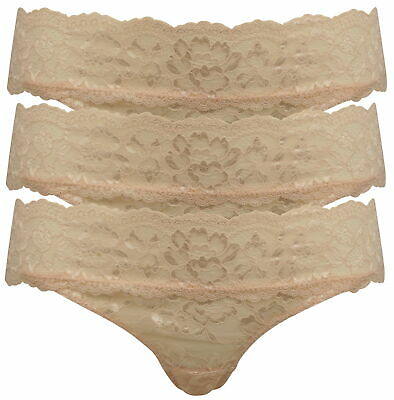 3 Pack of Pretty Pink Floral Lace Brazilian Briefs Size 14