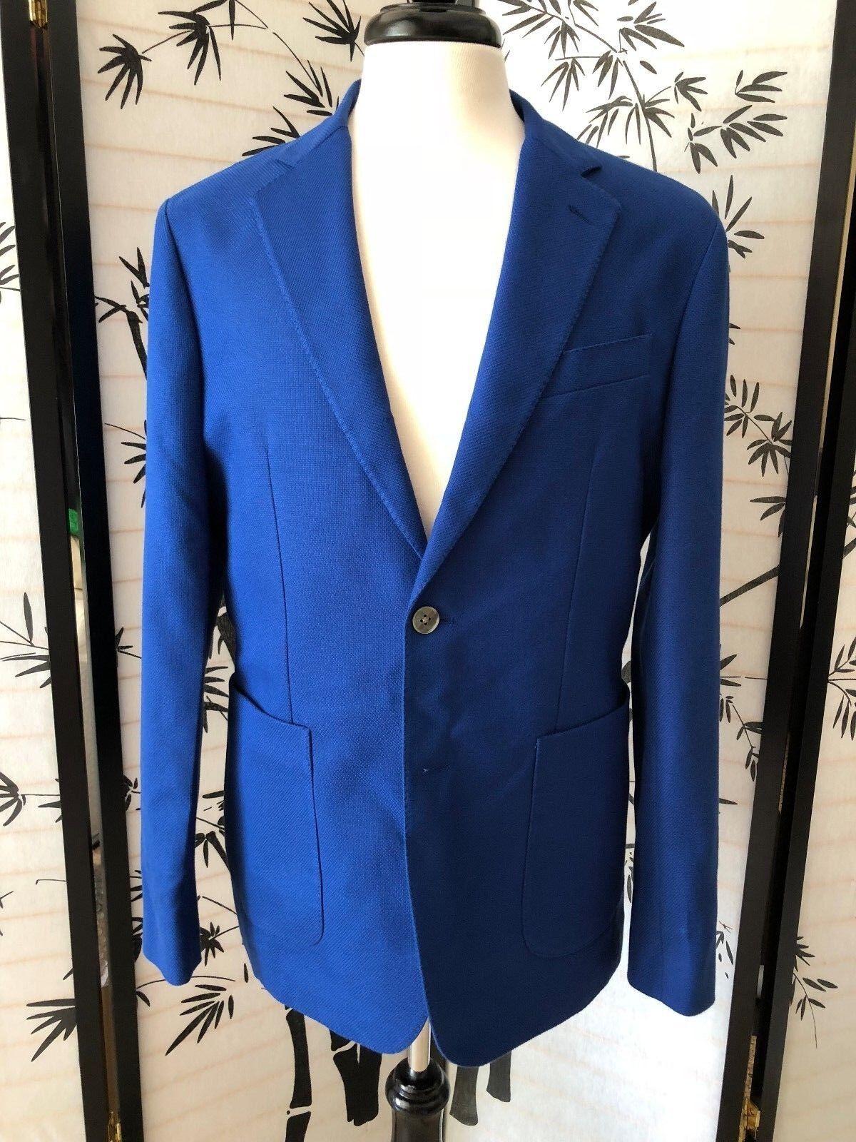 NWT  HARDY AMIES Cotton Wool Blend Blazer Sport Coat Sz 40R Royal bluee