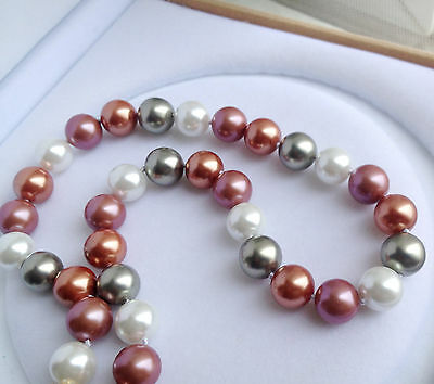 "Long 34""12mm Multicolor South Sea Shell Pearl Round Beads Fashion Necklace AAA"