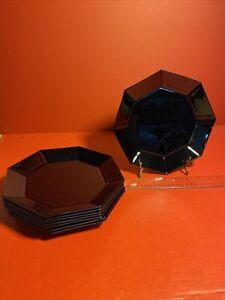 Vintage 4 Black Glass Arcoroc France Salad Dessert Bread Plates Octagon