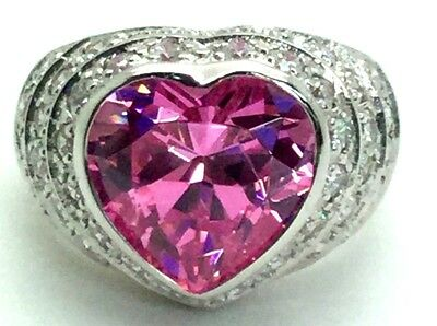 Sterling Silver Love Heart Pink Sapphire Pave CZ Triple Halo Domed Cocktail Ring