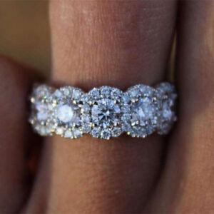 Luxury-Round-White-Sapphire-CZ-Engagement-Ring-White-Gold-Wedding-Fine-Jewelry