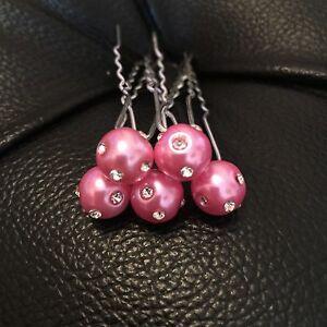 5-sposa-Prom-PINK-PEARL-CON-CRISTAL-Capelli-Pin-Clip-Grip-handmade