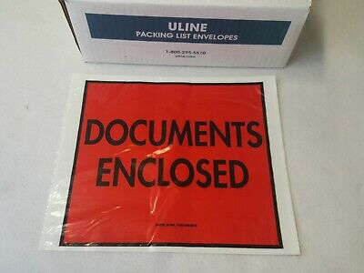 500//carton Top Loading Packing List Envelopes 12 x 15- ULINE Clear
