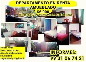 RENTO DEPARTAMENTO AMUEBLADO, CONJUNTO USUMACINTA,TABASCO 2000, TERCER NIVEL, 3 RECÁMARAS.