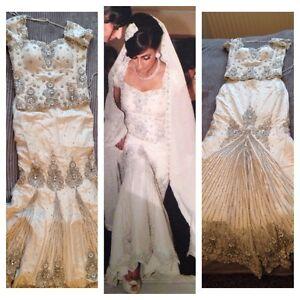 Details About Stunning White Wedding Dress Size 6 8 Mermaid Shape Pearl Diamond Embellish