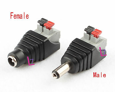 DC 12V Power Supply Plug Adapter Male Connector F 5050 3528 Led Strip Light CCTV