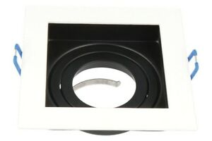 LED-line-Eckig-GU10-Einbaurahmen-Schwenkbar-Spot-75mm-Bohrloch-Weiss-Schwarz