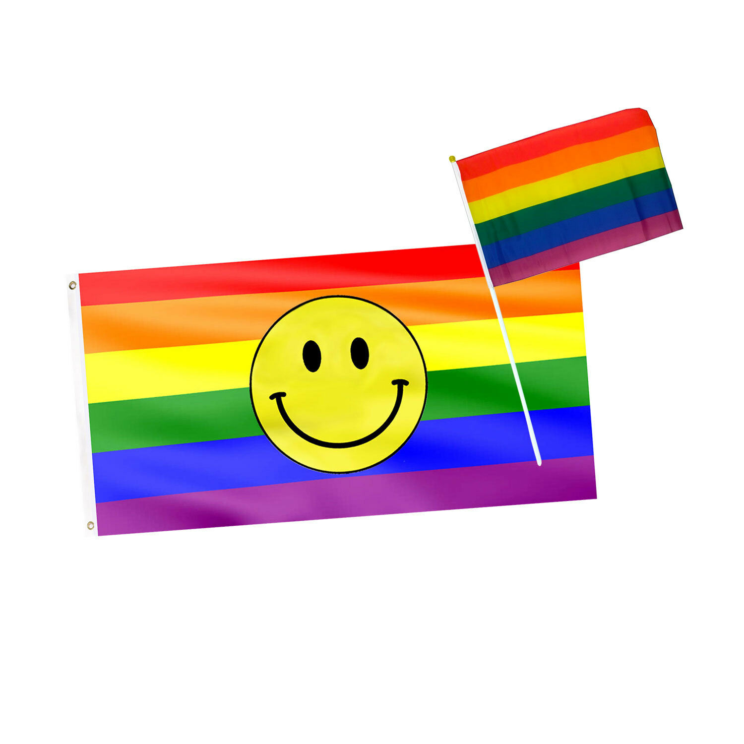 Details about Gay Pride LGBT Waving Flags Smiley Emoji Rainbow Large  Festival Flag / Cape Set