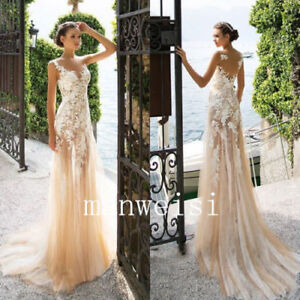 837250fe5fa4b Image is loading Champagne-Mermaid-Wedding-Dresses-Lace-Applique-Bridal- Gowns-