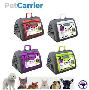 Pet-Carrier-Cat-Dog-Crate-Plastic-Cage-House-Folding-Animal-Travel-Kennel-Case