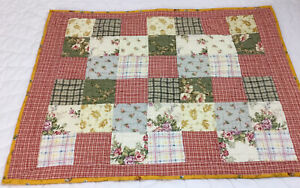 Patchwork Quilt Wall Hanging, Four Patch, Floral Calico Prints, Checks, Multi