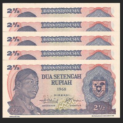 P-103 2 1//2 1968 Rupiah Banknote UNC Asia Paper Money Indonesia 2.5