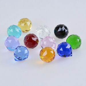 Image is loading 30mm-Faceted-Hanging-Crystal-Ball-Chandelier-Parts-Prism-