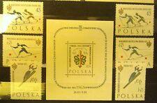 POLAND STAMPS MNH 1Fi1149-51a+b+bl24 Sc1046-49 Mi1294-00+bl26-Ski Cup,1962,clean
