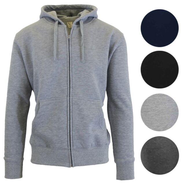 Mens Fleece Hoodie Jacket Sweater For Layering Warm Lounge Full Zip Up S-XXL