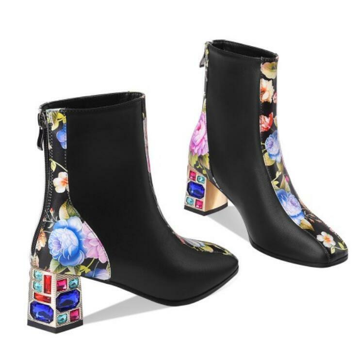 Womens Rhinestone Chunky Heel Ankle Boots Ladies Square Toe Zip Booties Shoes L