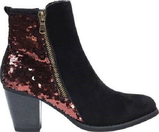 Muk Luks  Womens Boots Lizzie Sequin Zipper Up 9 M Black 0016884